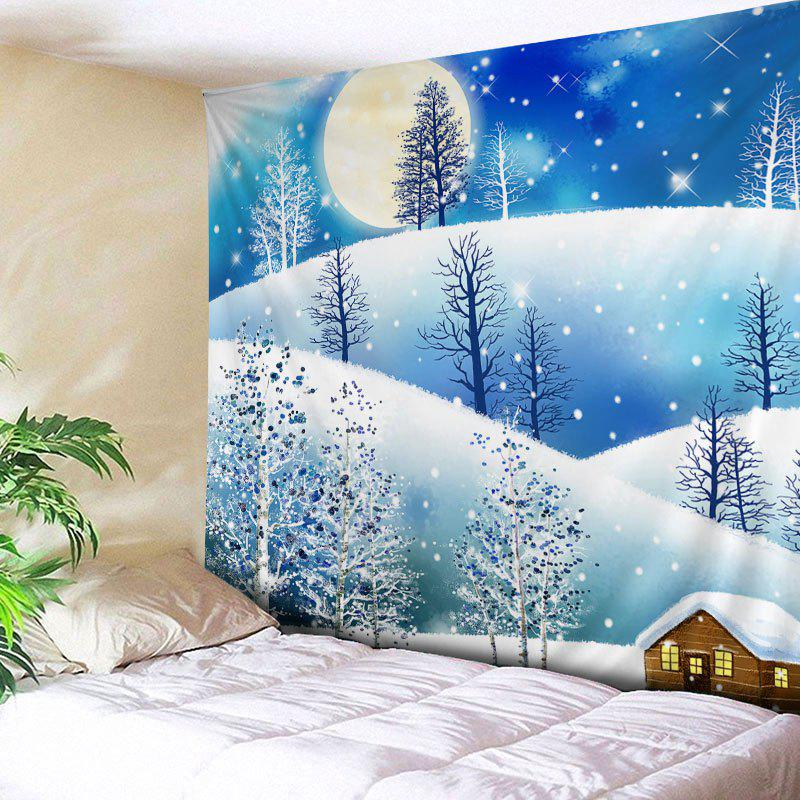 Christmas Moon Night Print Tapestry Wall Hanging Art DecorationHOME<br><br>Size: W91 INCH * L71 INCH; Color: COLORMIX; Style: Festival; Theme: Christmas; Material: Polyester; Feature: Washable; Shape/Pattern: Moon,Tree; Weight: 0.4000kg; Package Contents: 1 x Tapestry;