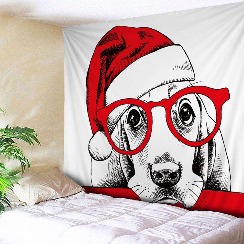 Christmas Hat Dog Print Tapestry Wall Hanging Art DecorationHOME<br><br>Size: W91 INCH * L71 INCH; Color: RED; Style: Festival; Theme: Christmas; Material: Polyester; Feature: Washable; Shape/Pattern: Animal; Weight: 0.4000kg; Package Contents: 1 x Tapestry;