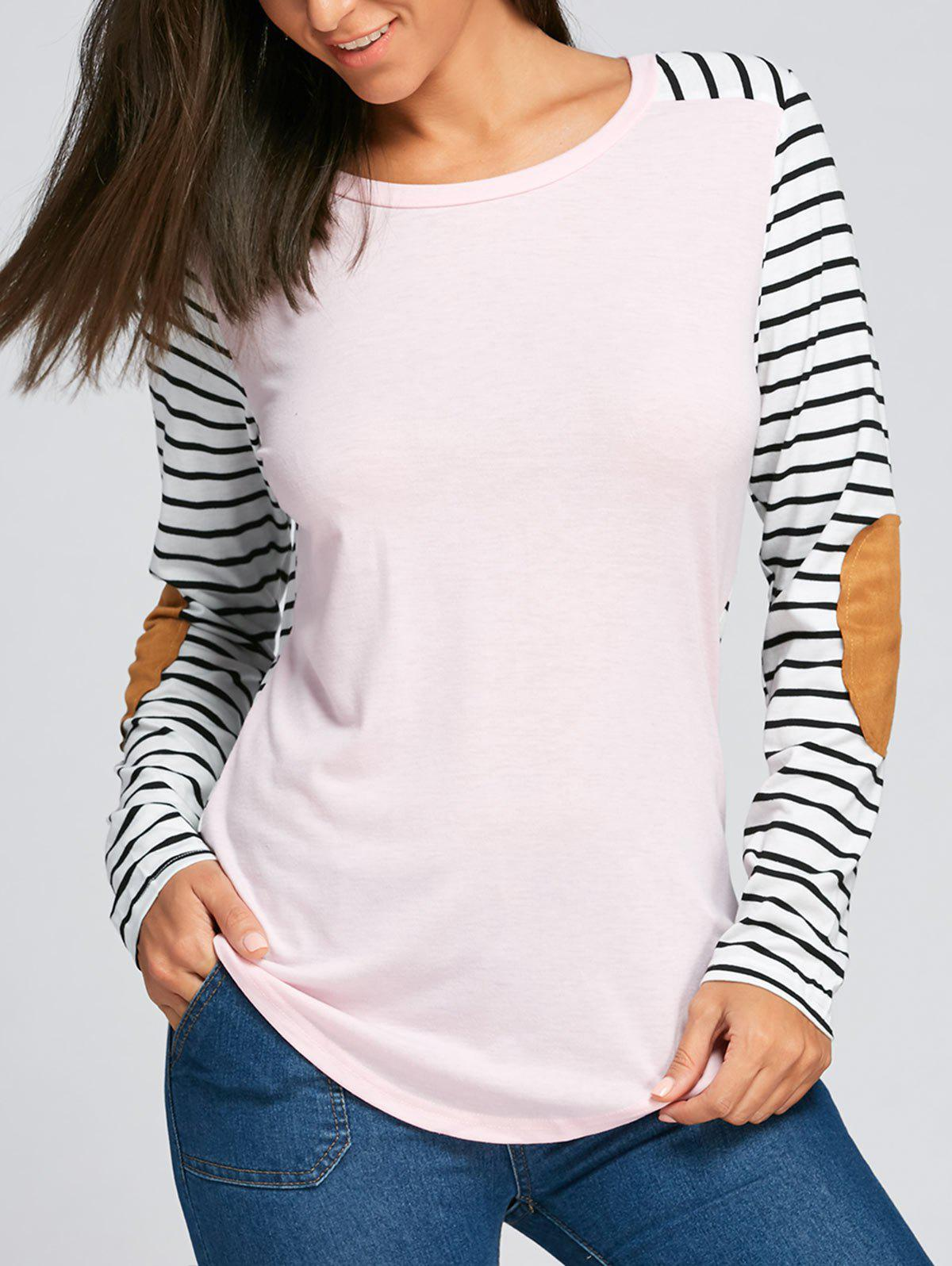 Sale Elbow Patch Striped Long Sleeve Top