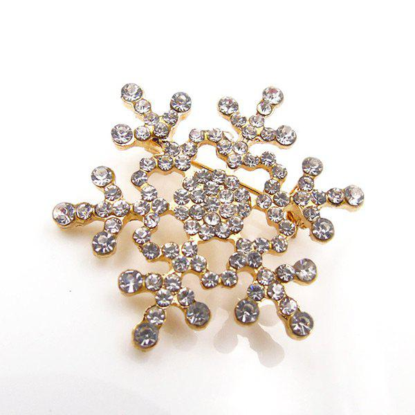 Christmas Rhinestone Snowflake BroochJEWELRY<br><br>Color: GOLDEN; Brooch Type: Brooch; Gender: For Women; Material: Rhinestone; Style: Trendy; Shape/Pattern: Geometric; Length: 4CM; Weight: 0.0300kg; Package Contents: 1 x Brooch;