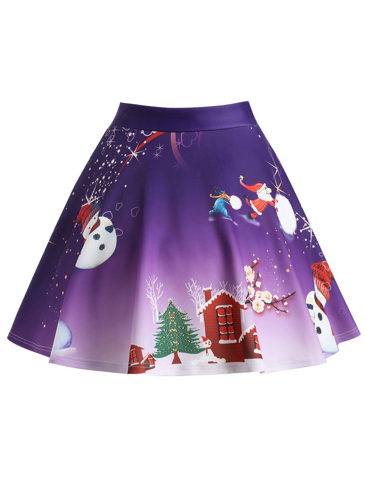 Christmas Tree Snowman Wintersweet Print Ombre SkirtWOMEN<br><br>Size: 2XL; Color: PURPLE; Material: Polyester,Spandex; Length: Mini; Silhouette: A-Line; Pattern Type: Print; Season: Winter; With Belt: No; Weight: 0.3300kg; Package Contents: 1 x Skirt;