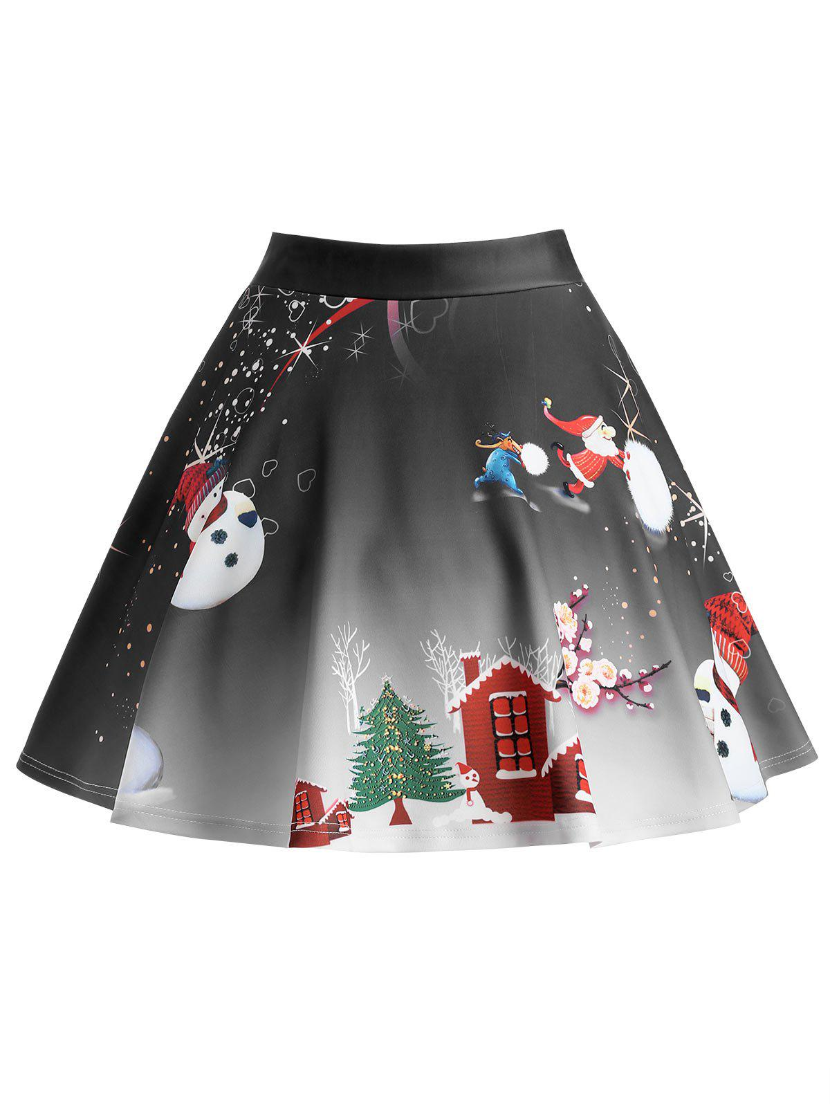 Christmas Tree Snowman Wintersweet Print Ombre SkirtWOMEN<br><br>Size: 5XL; Color: BLACK; Material: Polyester,Spandex; Length: Mini; Silhouette: A-Line; Pattern Type: Print; Season: Winter; With Belt: No; Weight: 0.3300kg; Package Contents: 1 x Skirt;
