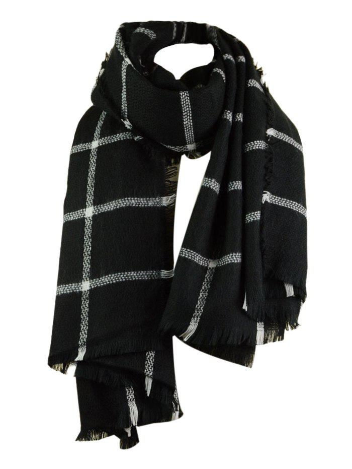New Vintage Checked Pattern Faux Wool Fringed Long Scarf