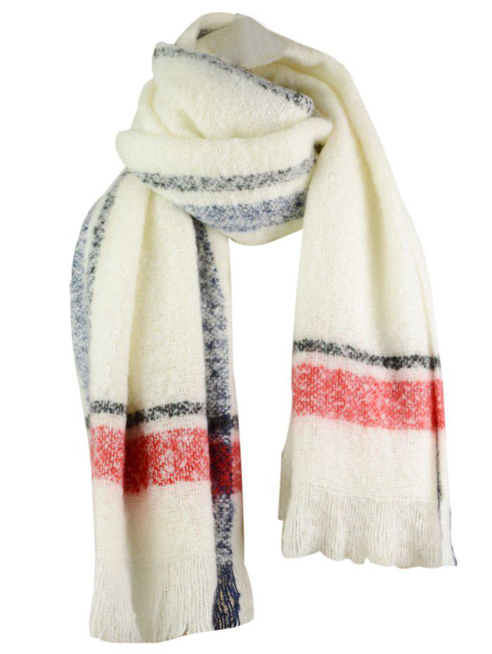 Outdoor Striped Pattern Embellished Fringed Chunky ScarfACCESSORIES<br><br>Size: ONE SIZE; Color: WHITE; Scarf Type: Scarf; Scarf Length: Above 175CM; Group: Adult; Gender: For Women; Style: Fashion; Material: Acrylic; Season: Fall,Spring,Winter; Scarf Width (CM): 68CM; Length (CM): 200CM; Weight: 0.3500kg; Package Contents: 1 x Scarf;
