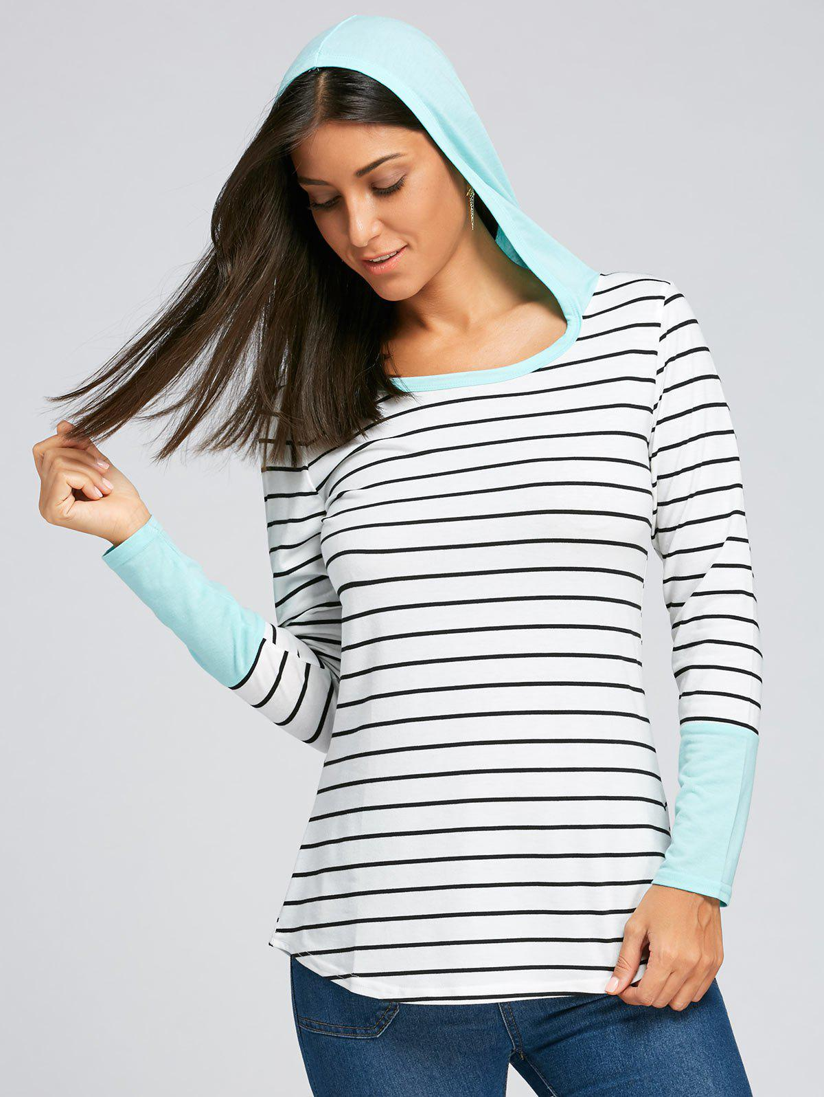 Online Hooded Striped Long Sleeve Top