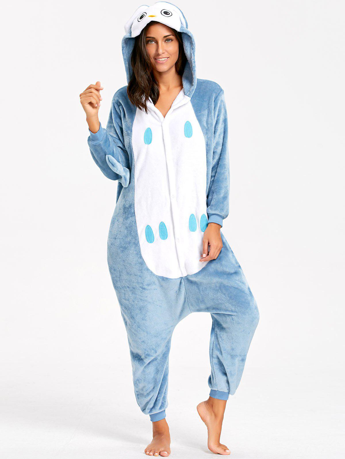 Cute Owl Animal Onesie Pajama for AdultWOMEN<br><br>Size: L; Color: BLUE GRAY; Material: Polyester; Fabric Type: Fleece; Pattern Type: Animal; Weight: 0.5000kg; Package Contents: 1 x Pajama;