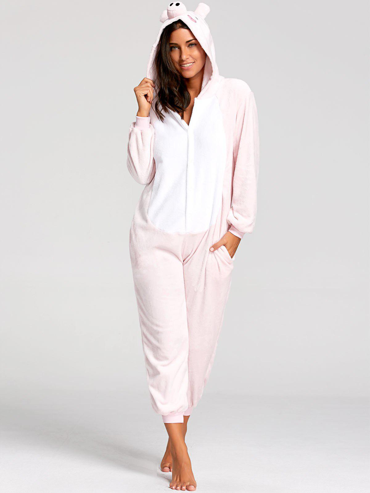 Cute Pink Pig Animal Onesie PajamaWOMEN<br><br>Size: M; Color: PINK; Material: Polyester; Fabric Type: Fleece; Pattern Type: Animal; Weight: 0.5000kg; Package Contents: 1 x Pajama;