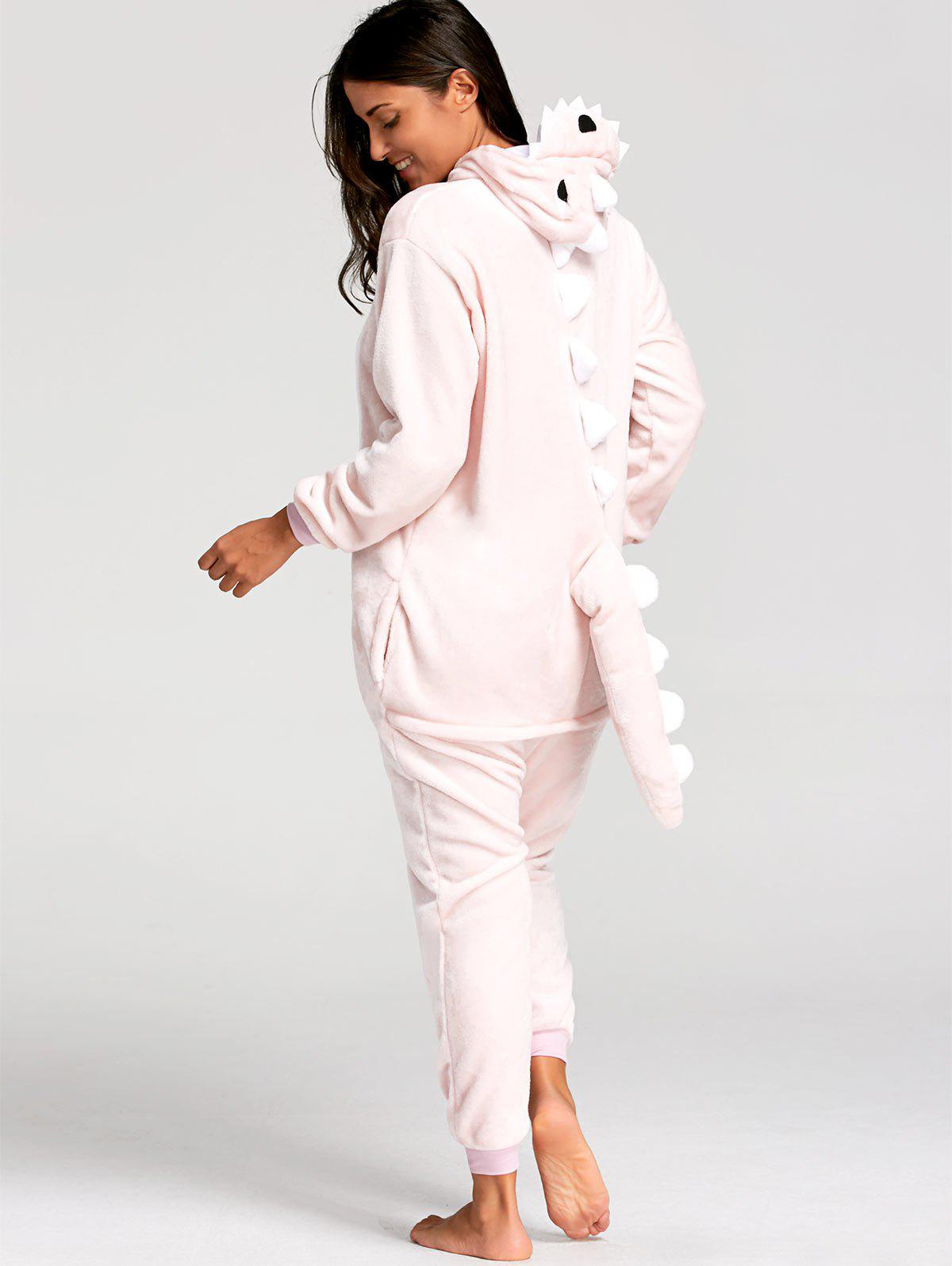 Cute Dinosaur Animal Onesie PajamaWOMEN<br><br>Size: S; Color: PINK; Material: Polyester; Fabric Type: Fleece; Pattern Type: Animal; Weight: 0.5000kg; Package Contents: 1 x Pajama;
