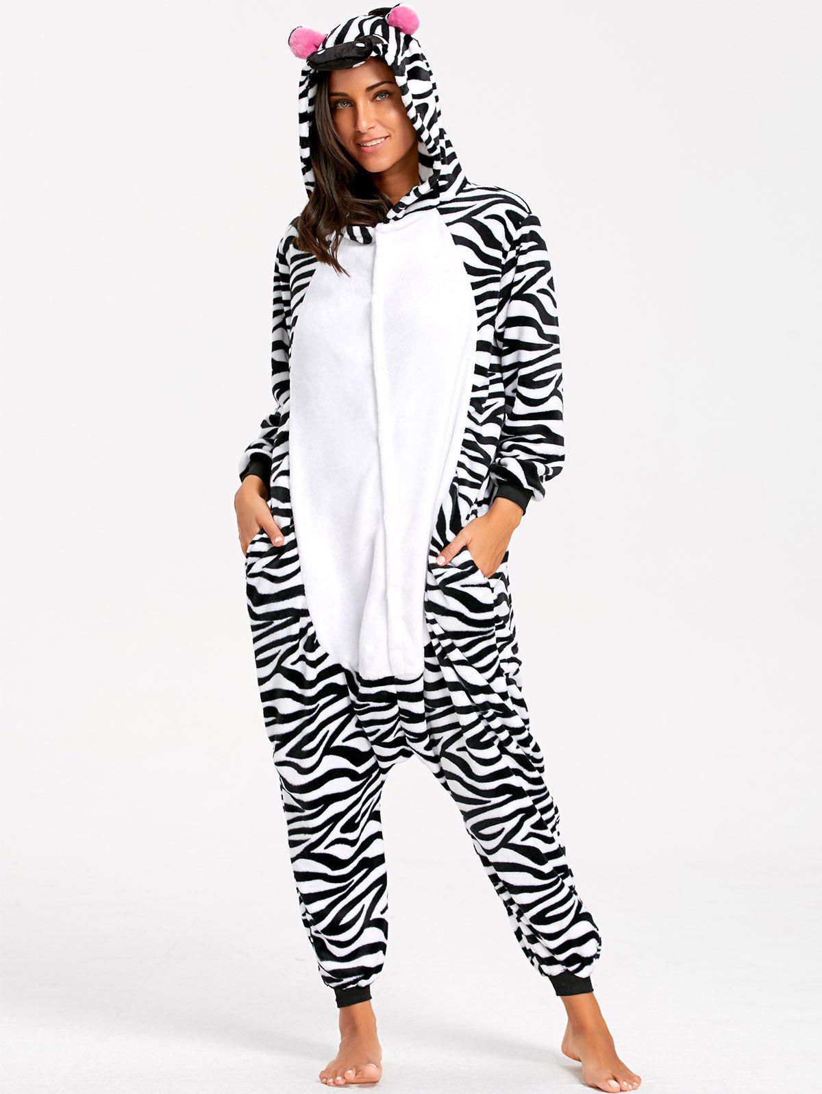 Adult Stripe Zebra Animal Onesie PajamaWOMEN<br><br>Size: L; Color: BLACK WHITE; Material: Polyester; Fabric Type: Fleece; Pattern Type: Animal; Weight: 0.5100kg; Package Contents: 1 x Pajama;
