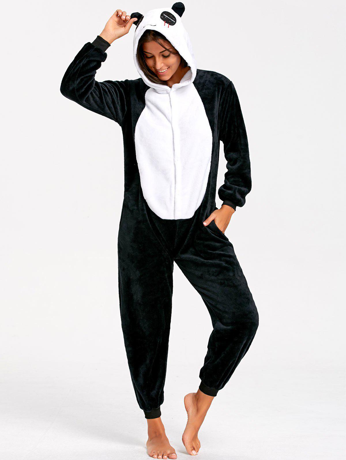 Adult Cute Panda Animal Onesie PajamasWOMEN<br><br>Size: M; Color: BLACK WHITE; Material: Polyester; Fabric Type: Fleece; Pattern Type: Animal; Weight: 0.5000kg; Package Contents: 1 x Pajama;