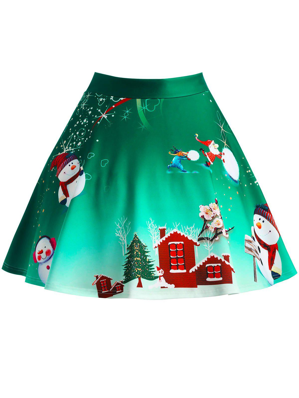 Christmas Tree Snowman Wintersweet Print Ombre SkirtWOMEN<br><br>Size: 2XL; Color: GREEN; Material: Polyester,Spandex; Length: Mini; Silhouette: A-Line; Pattern Type: Print; Season: Winter; With Belt: No; Weight: 0.3300kg; Package Contents: 1 x Skirt;