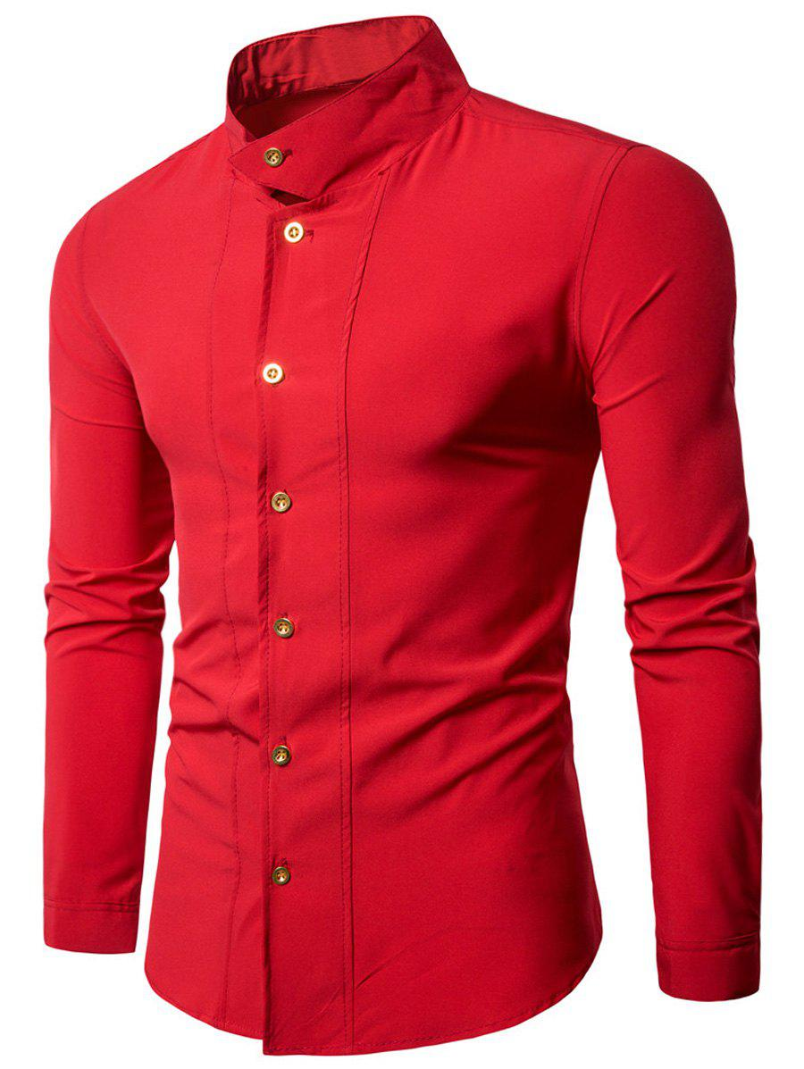 Stand Collar Long Sleeve Casual ShirtMEN<br><br>Size: M; Color: RED; Shirts Type: Casual Shirts; Material: Polyester; Sleeve Length: Full; Collar: Stand Collar; Pattern Type: Solid; Weight: 0.3000kg; Package Contents: 1 x Shirt;