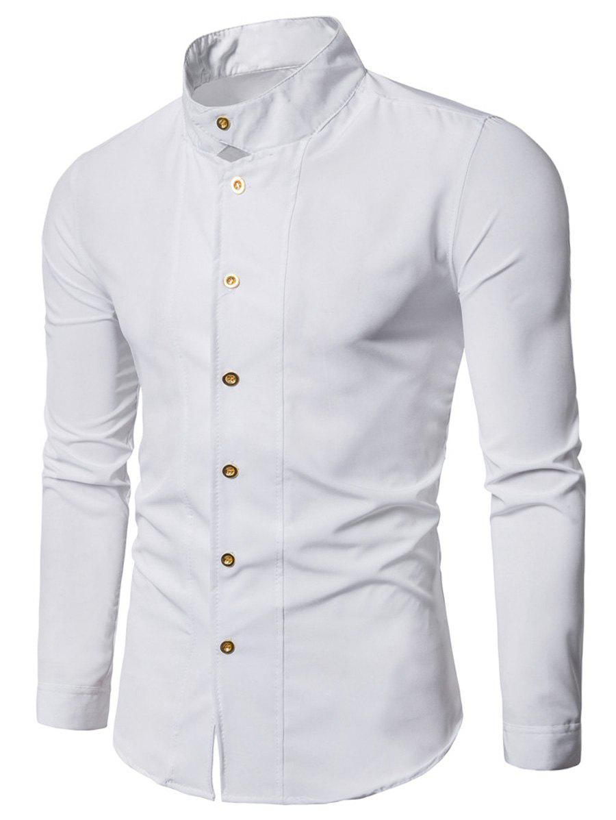 Stand Collar Long Sleeve Casual ShirtMEN<br><br>Size: M; Color: WHITE; Shirts Type: Casual Shirts; Material: Polyester; Sleeve Length: Full; Collar: Stand Collar; Pattern Type: Solid; Weight: 0.3000kg; Package Contents: 1 x Shirt;