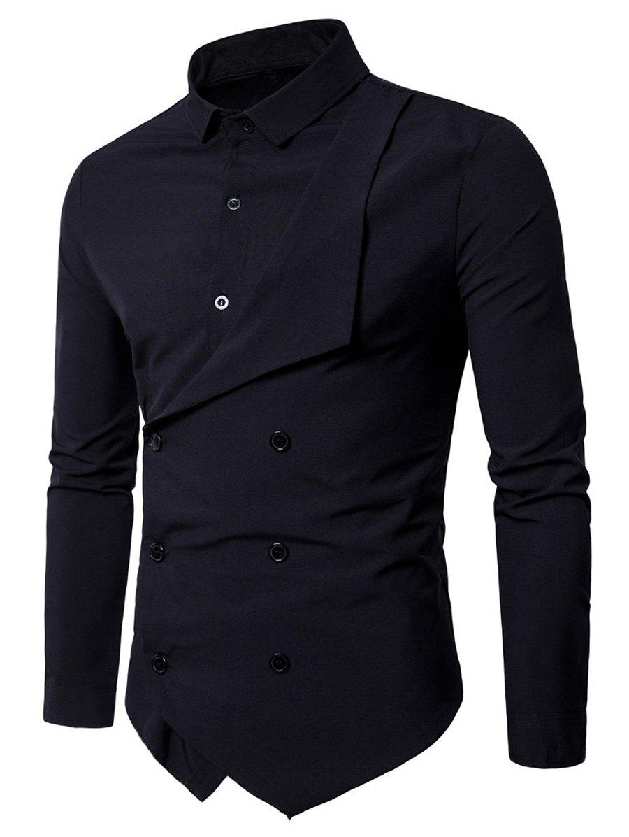 Long Sleeve Double Breasted Layered ShirtMEN<br><br>Size: 2XL; Color: BLACK; Shirts Type: Casual Shirts; Material: Polyester; Sleeve Length: Full; Collar: Turndown Collar; Pattern Type: Solid; Weight: 0.3700kg; Package Contents: 1 x Shirt;