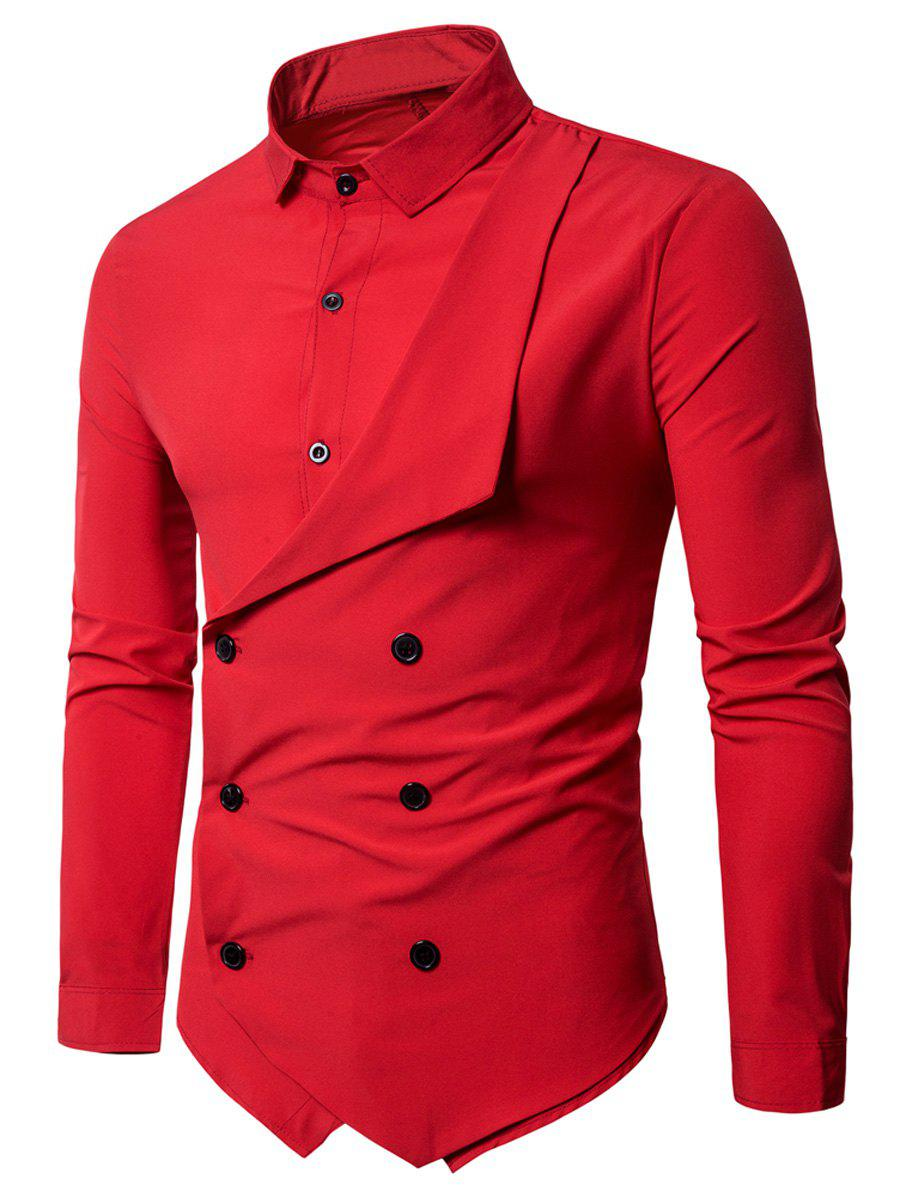Long Sleeve Double Breasted Layered ShirtMEN<br><br>Size: 2XL; Color: RED; Shirts Type: Casual Shirts; Material: Polyester; Sleeve Length: Full; Collar: Turndown Collar; Pattern Type: Solid; Weight: 0.3700kg; Package Contents: 1 x Shirt;