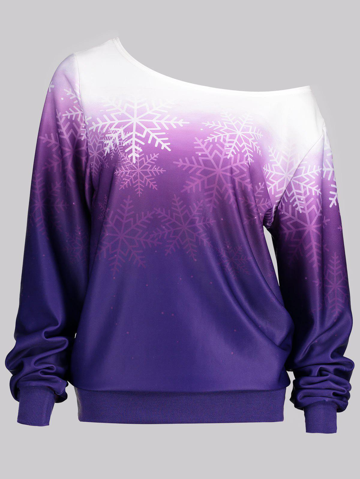 Snowflake Print Skew Neck Ombre SweatshirtWOMEN<br><br>Size: 2XL; Color: PURPLE; Material: Polyester; Shirt Length: Regular; Sleeve Length: Full; Style: Casual; Pattern Style: Ombre; Season: Fall,Spring; Weight: 0.3600kg; Package Contents: 1 x Sweatshirt;