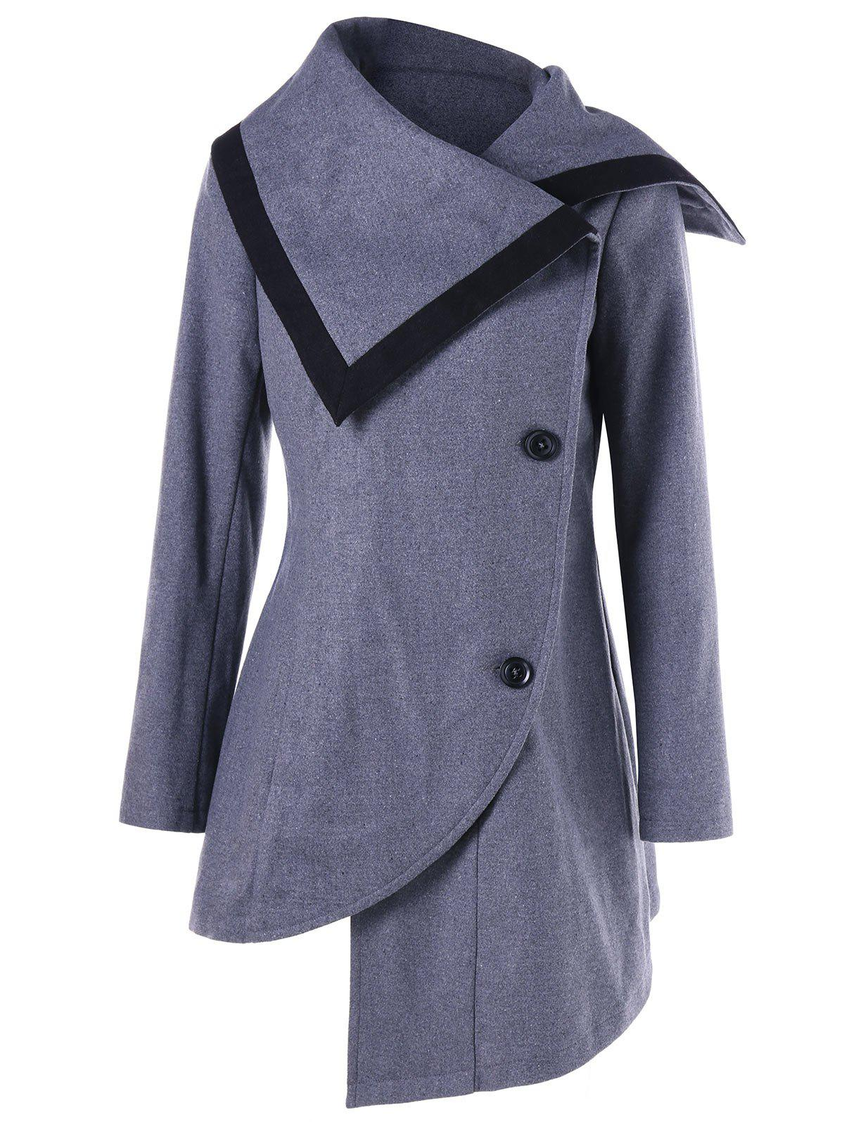 Oblique Button High Low Tunic Wool CoatWOMEN<br><br>Size: M; Color: GRAY; Clothes Type: Wool &amp; Blends; Material: Polyester,Wool; Type: Asymmetric Length; Shirt Length: Long; Sleeve Length: Full; Collar: Turn-down Collar; Pattern Type: Solid; Style: Fashion; Season: Fall,Spring,Winter; Weight: 0.7800kg; Package Contents: 1 x Coat;