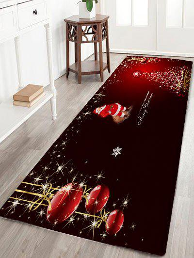 Christmas Tree Santa Claus Print Flannel Skidproof Bath RugHOME<br><br>Size: W24 INCH * L71 INCH; Color: BLACK RED; Products Type: Bath rugs; Materials: Flannel; Pattern: Ball,Christmas Tree,Santa Claus; Style: Festival; Shape: Rectangular; Package Contents: 1 x Rug;