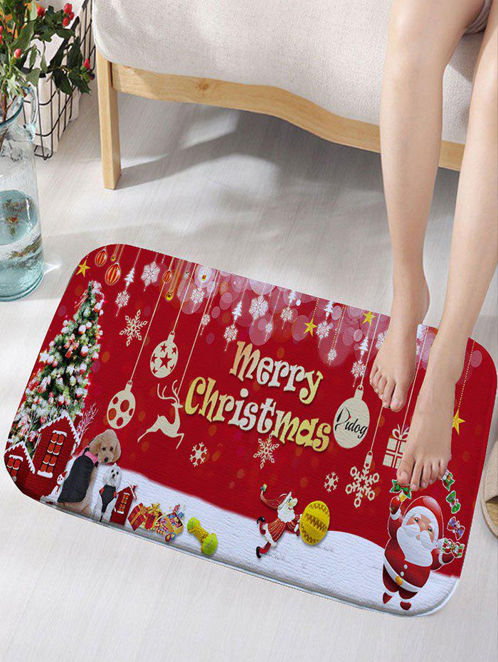 Skidproof Flannel Merry Christmas Printed Bath RugHOME<br><br>Size: W16 INCH * L24 INCH; Color: RED; Products Type: Bath rugs; Materials: Flannel; Pattern: Christmas Tree,Letter,Santa Claus; Style: Festival; Shape: Rectangular; Package Contents: 1 x Rug;