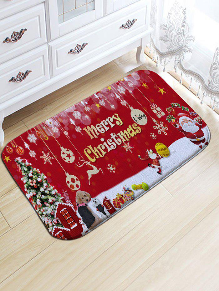 Skidproof Flannel Merry Christmas Printed Bath RugHOME<br><br>Size: W20 INCH * L31.5 INCH; Color: RED; Products Type: Bath rugs; Materials: Flannel; Pattern: Christmas Tree,Letter,Santa Claus; Style: Festival; Shape: Rectangular; Package Contents: 1 x Rug;