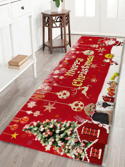 Skidproof Flannel Merry Christmas Printed Bath RugHOME<br><br>Size: W24 INCH * L71 INCH; Color: RED; Products Type: Bath rugs; Materials: Flannel; Pattern: Christmas Tree,Letter,Santa Claus; Style: Festival; Shape: Rectangular; Package Contents: 1 x Rug;