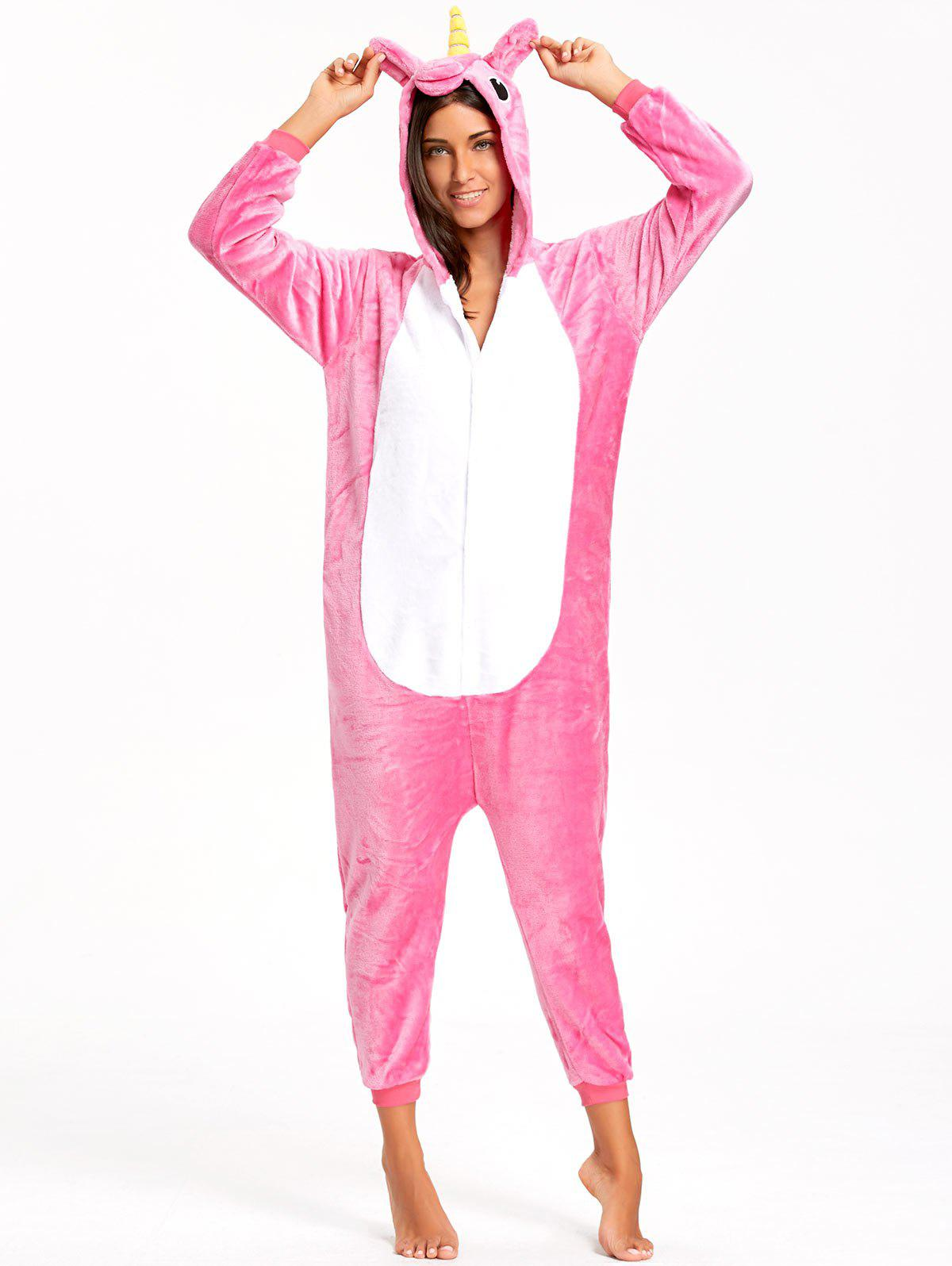 Cute Unicorn Adult Animal Onesie PajamaWOMEN<br><br>Size: S; Color: TUTTI FRUTTI; Material: Polyester; Fabric Type: Fleece; Pattern Type: Animal; Weight: 0.5000kg; Package Contents: 1 x Pajama;