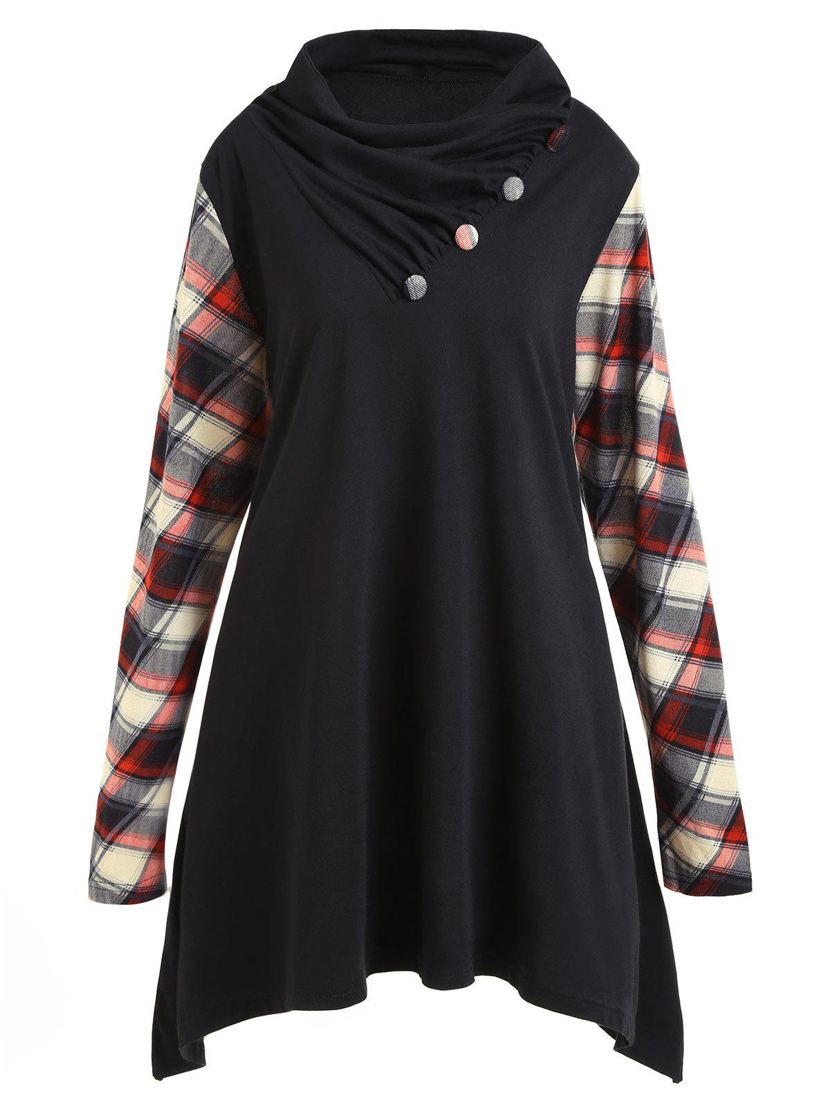 Plus Size Plaid Panel Heap Collar Tunic TopWOMEN<br><br>Size: 3XL; Color: BLACK; Material: Polyester,Spandex; Shirt Length: Long; Sleeve Length: Full; Collar: Heaps Collar; Style: Casual; Season: Fall,Spring; Embellishment: Button; Pattern Type: Plaid; Weight: 0.4200kg; Package Contents: 1 x Top;