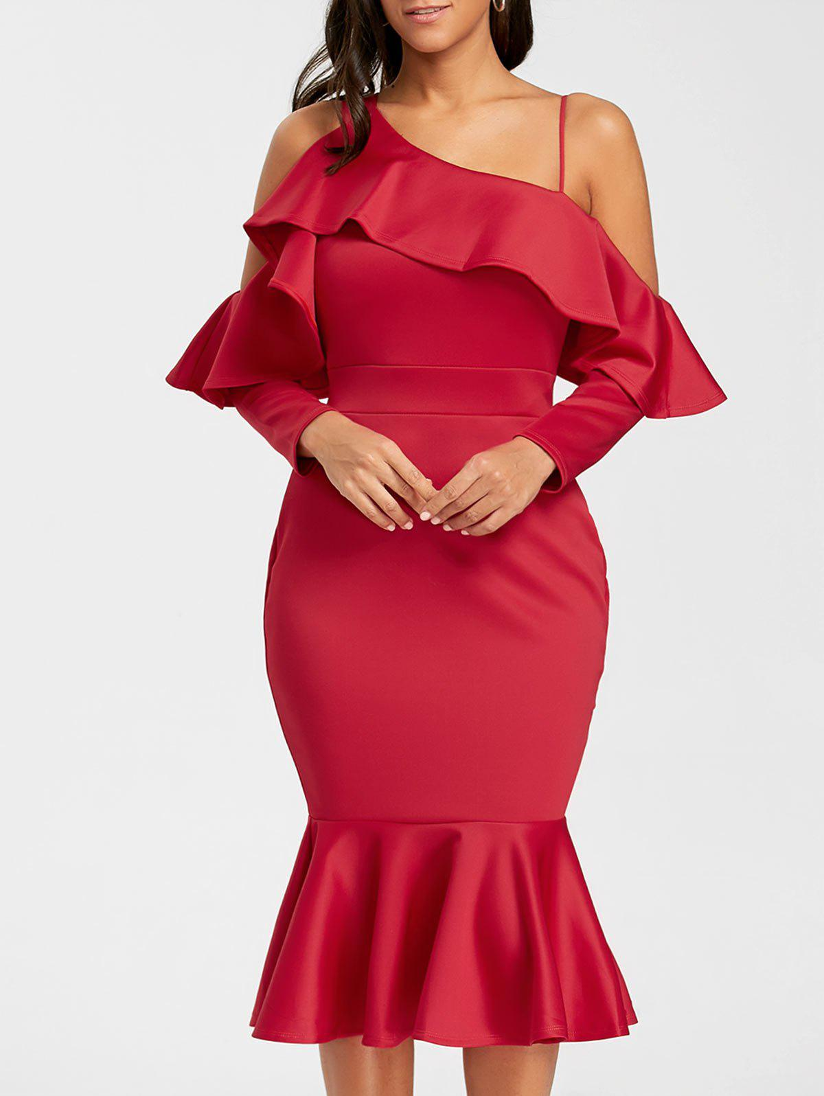 Long Sleeve Open Shoulder Midi Mermaid DressWOMEN<br><br>Size: L; Color: RED; Style: Brief; Material: Polyester,Spandex; Silhouette: Bodycon; Dresses Length: Mid-Calf; Neckline: Skew Collar; Sleeve Length: Long Sleeves; Embellishment: Flounce; Pattern Type: Solid Color; With Belt: No; Season: Fall,Spring; Weight: 0.6100kg; Package Contents: 1 x Dress;
