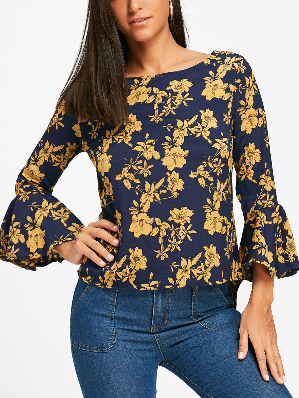 Flare Sleeve High Low Floral BlouseWOMEN<br><br>Size: M; Color: BLUE; Style: Fashion; Material: Polyester; Shirt Length: Regular; Sleeve Length: Three Quarter; Sleeve Type: Flare Sleeve; Collar: Boat Neck; Pattern Type: Floral; Season: Fall,Spring; Weight: 0.1800kg; Package Contents: 1 x Blouse;