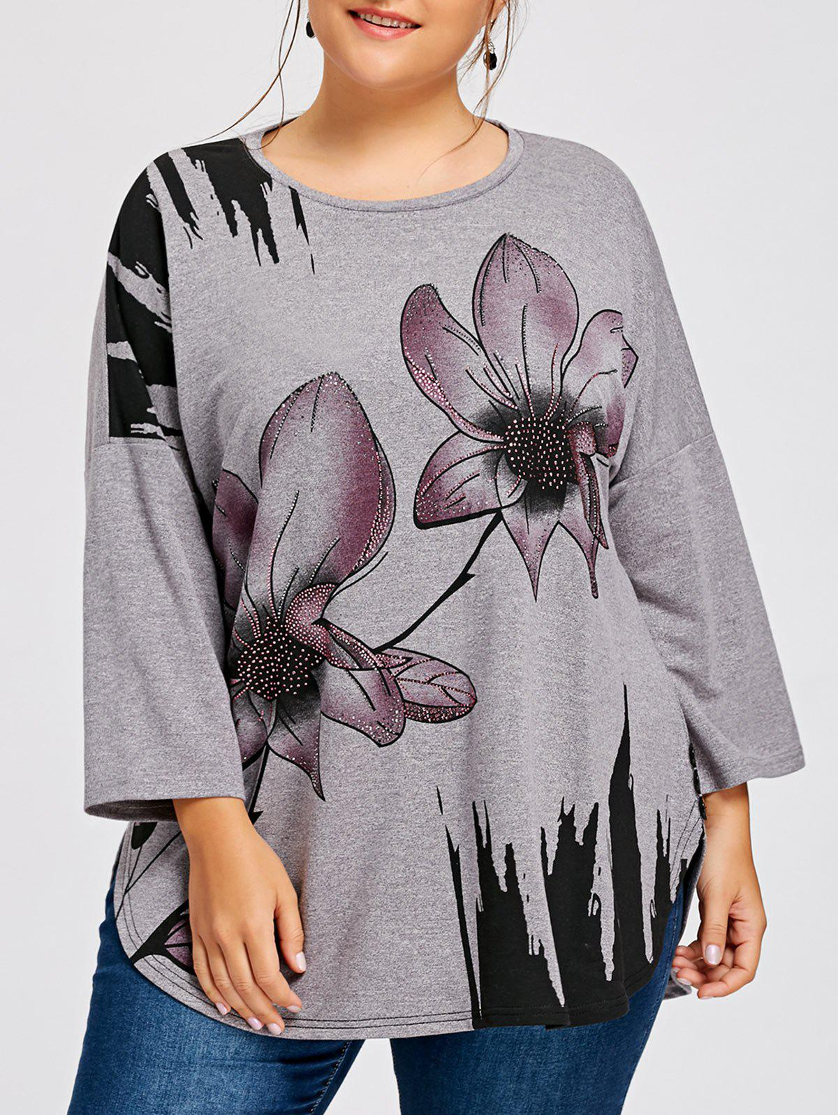 Plus Size Floral Rhinestone Embellished Drop Shoulder T-shirtWOMEN<br><br>Size: 2XL; Color: COLORMIX; Material: Polyester,Spandex; Shirt Length: Long; Sleeve Length: Full; Collar: Round Neck; Style: Fashion; Season: Fall,Spring; Embellishment: Rhinestone; Pattern Type: Floral; Weight: 0.3500kg; Package Contents: 1 x T-shirt;