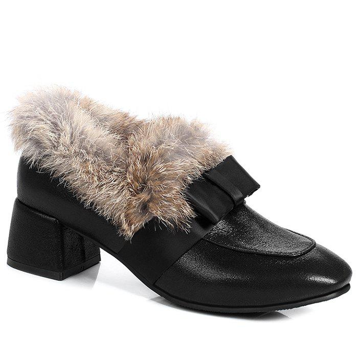 Discount Glitter Bow Splicing Fur Ankle Boots
