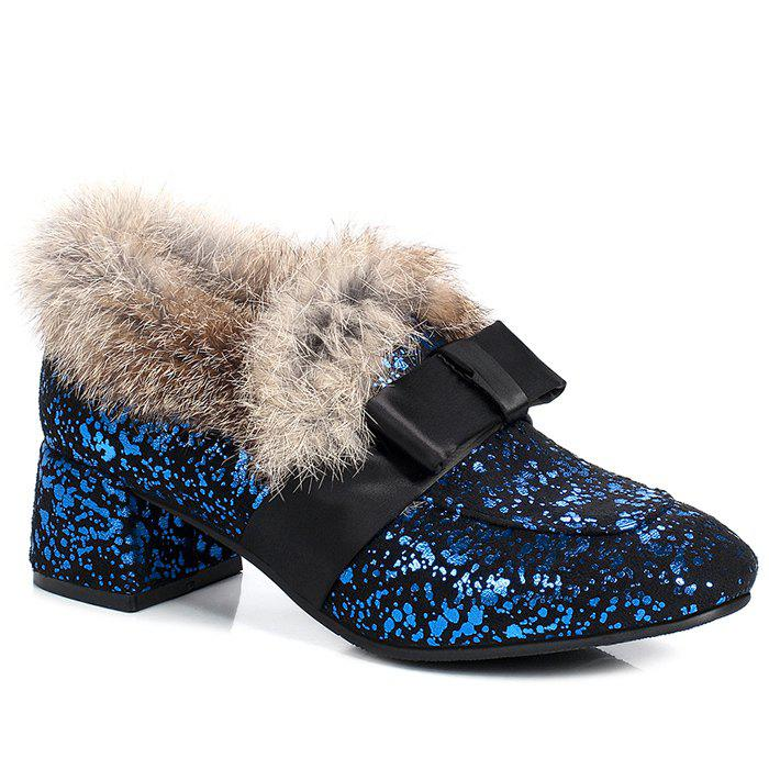 Cheap Glitter Bow Splicing Fur Ankle Boots