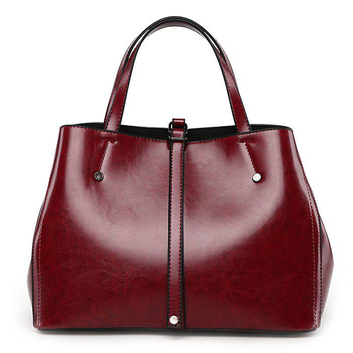 Buckle Strap Rivets Handbag With StrapSHOES &amp; BAGS<br><br>Color: WINE RED; Handbag Type: Totes; Style: Fashion; Gender: For Women; Pattern Type: Solid; Handbag Size: Medium(30-50cm); Closure Type: Zipper; Occasion: Versatile; Main Material: PU; Weight: 1.2000kg; Package Contents: 1 x Handbag;