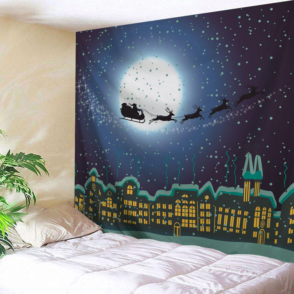 Christmas City Sled Printed Wall Hanging TapestryHOME<br><br>Size: W91 INCH * L71 INCH; Color: COLORMIX; Style: Festival; Theme: Christmas; Material: Polyester; Feature: Removable,Washable; Shape/Pattern: Buildings,Moon; Weight: 0.3800kg; Package Contents: 1 x Tapestry;