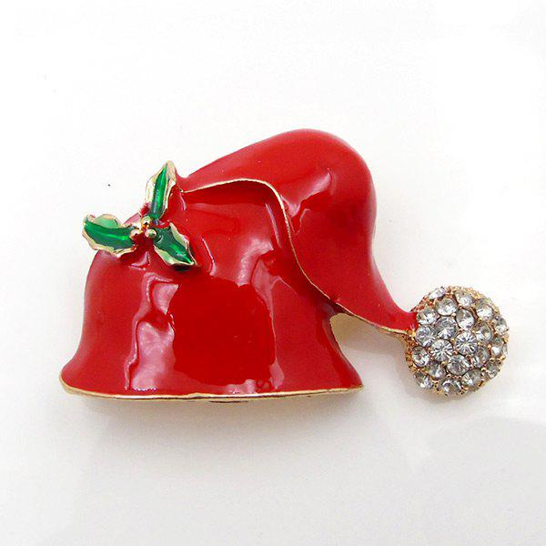 Rhinestone Christmas Hat Cute BroochJEWELRY<br><br>Color: RED; Brooch Type: Brooch; Gender: For Unisex; Material: Rhinestone; Style: Trendy; Shape/Pattern: Round; Length: 5CM; Weight: 0.0300kg; Package Contents: 1 x Brooch;