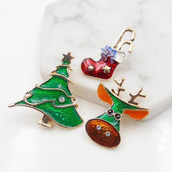 Christmas Deer Shoe Star Tree Brooch SetJEWELRY<br><br>Color: GREEN; Brooch Type: Brooch; Gender: For Unisex; Material: Rhinestone; Style: Trendy; Shape/Pattern: Star; Length: 2.7CM/2.7CM/3.2CM; Weight: 0.0400kg; Package Contents: 3 x Brooches (Piece);