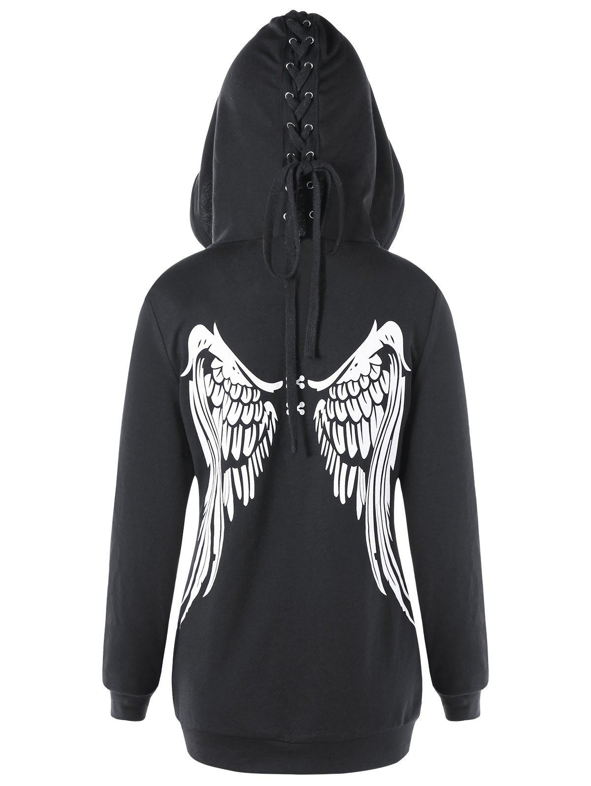 Lace Up Zippered Angel Wings HoodieWOMEN<br><br>Size: XL; Color: BLACK; Material: Polyester; Shirt Length: Regular; Sleeve Length: Full; Style: Casual; Pattern Style: Print; Embellishment: Criss-Cross; Season: Fall,Spring; Weight: 0.4870kg; Package Contents: 1 x Hoodie;