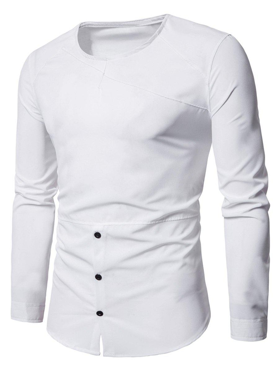 Round Neck Half Buttoned TeeMEN<br><br>Size: XL; Color: WHITE; Material: Polyester; Sleeve Length: Full; Collar: Round Neck; Style: Casual; Pattern Type: Solid; Season: Fall,Spring; Weight: 0.2800kg; Package Contents: 1 x Tee;