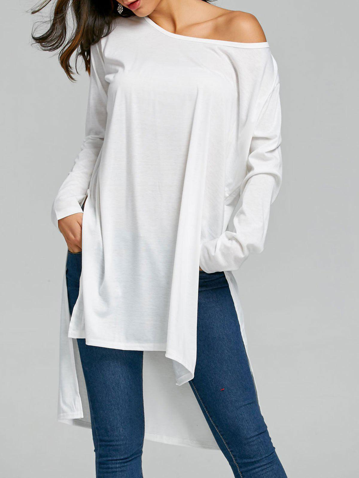 Side Slit Long Sleeve High Low TopWOMEN<br><br>Size: ONE SIZE; Color: WHITE; Material: Cotton,Polyester; Shirt Length: Long; Sleeve Length: Full; Collar: Scoop Neck; Style: Fashion; Pattern Type: Solid; Season: Fall,Spring; Weight: 0.2500kg; Package Contents: 1 x Top;