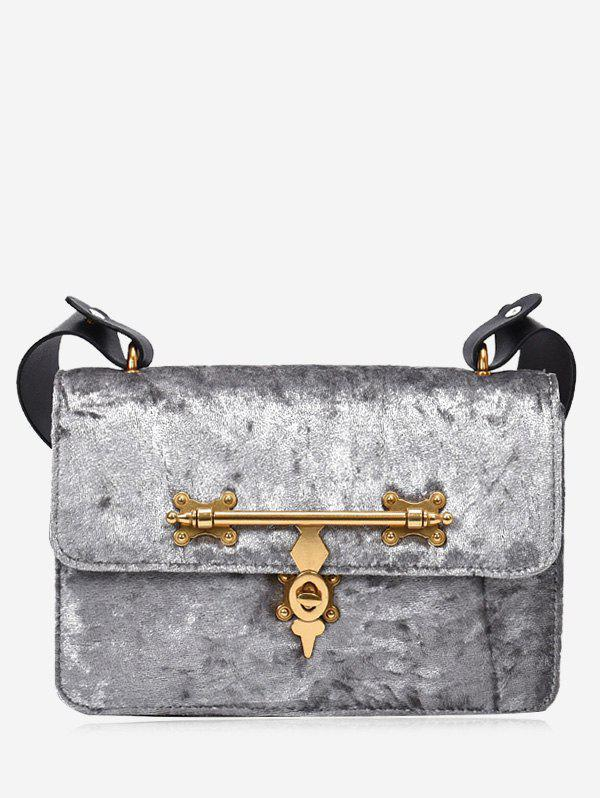 Metal Decorated Crossbody BagSHOES &amp; BAGS<br><br>Color: SILVER; Handbag Type: Crossbody bag; Style: Fashion; Gender: For Women; Pattern Type: Solid; Closure Type: Hasp; Occasion: Versatile; Main Material: Velour; Weight: 0.6000kg; Package Contents: 1 x Crossbody Bag;