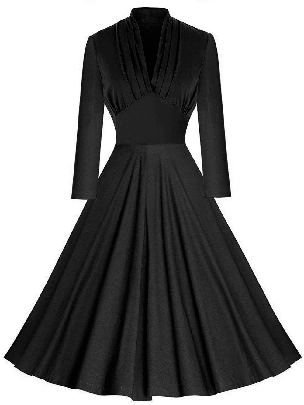 Vintage Pleated Plunging Empire Waist DressWOMEN<br><br>Size: XL; Color: BLACK; Style: Vintage; Material: Polyester; Silhouette: A-Line; Dresses Length: Knee-Length; Neckline: Plunging Neck; Sleeve Length: Long Sleeves; Waist: Empire; Embellishment: Pleated; Pattern Type: Solid Color; With Belt: No; Season: Fall,Spring; Weight: 0.4000kg; Package Contents: 1 x Dress;