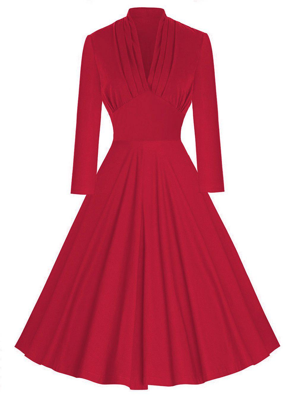 Vintage Pleated Plunging Empire Waist DressWOMEN<br><br>Size: M; Color: RED; Style: Vintage; Material: Polyester; Silhouette: A-Line; Dresses Length: Knee-Length; Neckline: Plunging Neck; Sleeve Length: Long Sleeves; Waist: Empire; Embellishment: Pleated; Pattern Type: Solid Color; With Belt: No; Season: Fall,Spring; Weight: 0.4000kg; Package Contents: 1 x Dress;