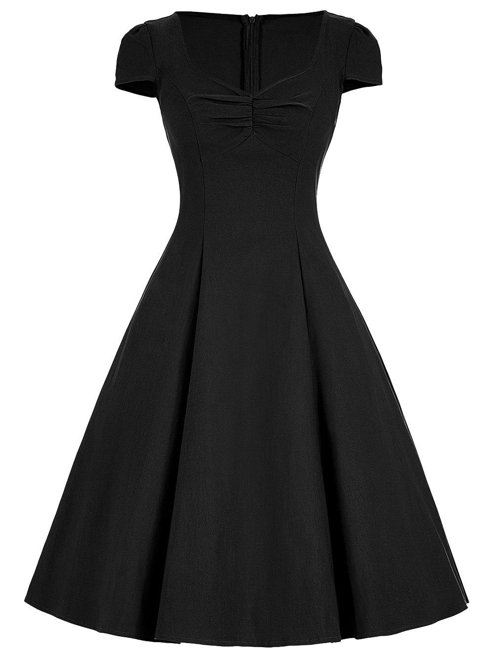 Sweetheart A Line Vintage DressWOMEN<br><br>Size: XL; Color: BLACK; Style: Vintage; Material: Polyester; Silhouette: A-Line; Dresses Length: Knee-Length; Neckline: Sweetheart Neck; Sleeve Length: Short Sleeves; Embellishment: Ruched; Pattern Type: Solid Color; With Belt: No; Season: Fall,Spring; Weight: 0.3300kg; Package Contents: 1 x Dress;