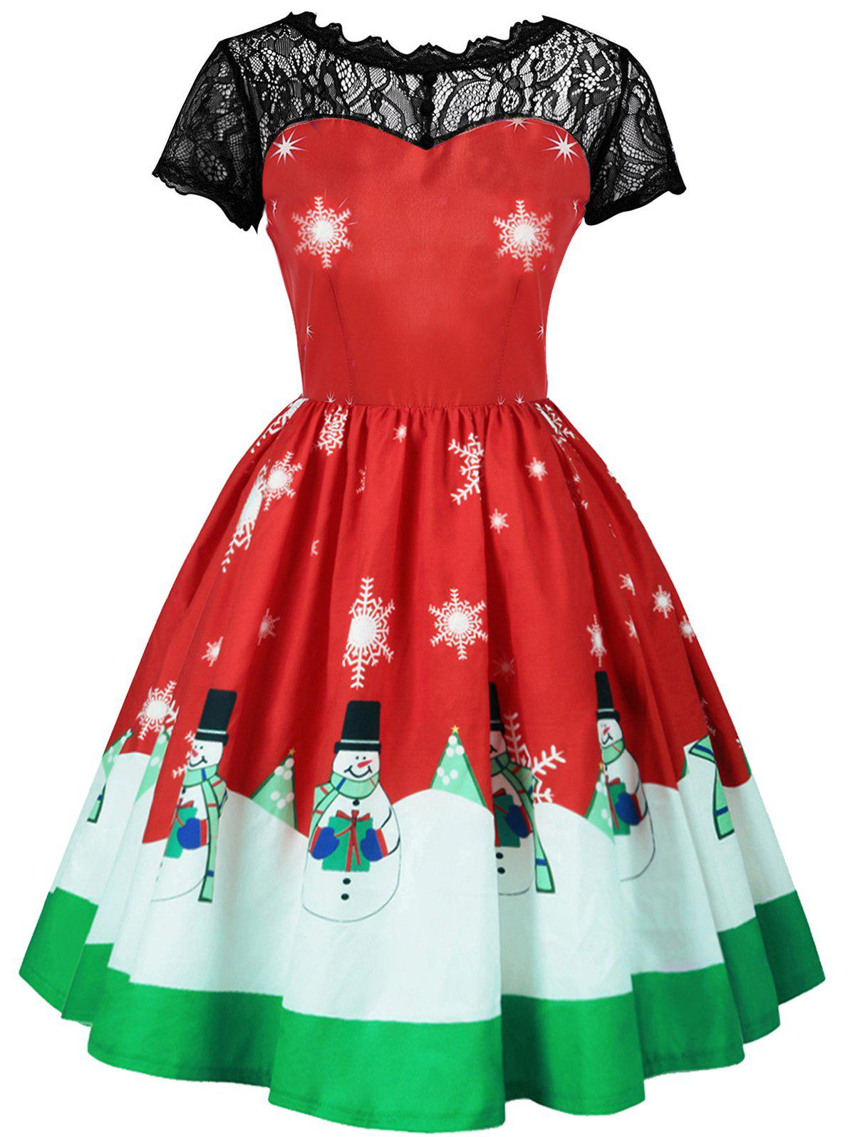 Plus Size Christmas Snowman and Snowflake Print DressWOMEN<br><br>Size: 3XL; Color: RED; Style: Vintage; Material: Polyester; Silhouette: A-Line; Dresses Length: Mid-Calf; Neckline: Round Collar; Sleeve Length: Short Sleeves; Embellishment: Lace; Pattern Type: Print; With Belt: No; Season: Fall,Spring; Weight: 0.2700kg; Package Contents: 1 x Dress;