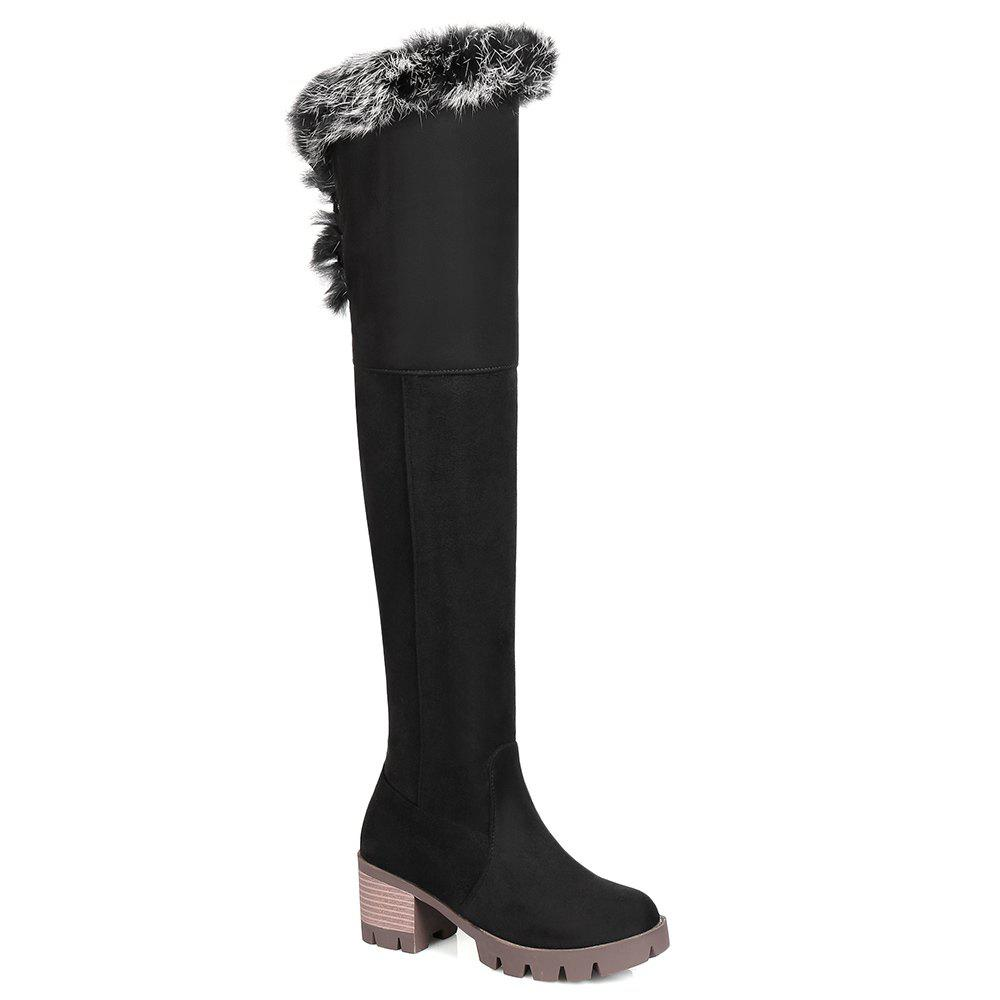 New Chunky Heel Tie Back Thigh High Boots