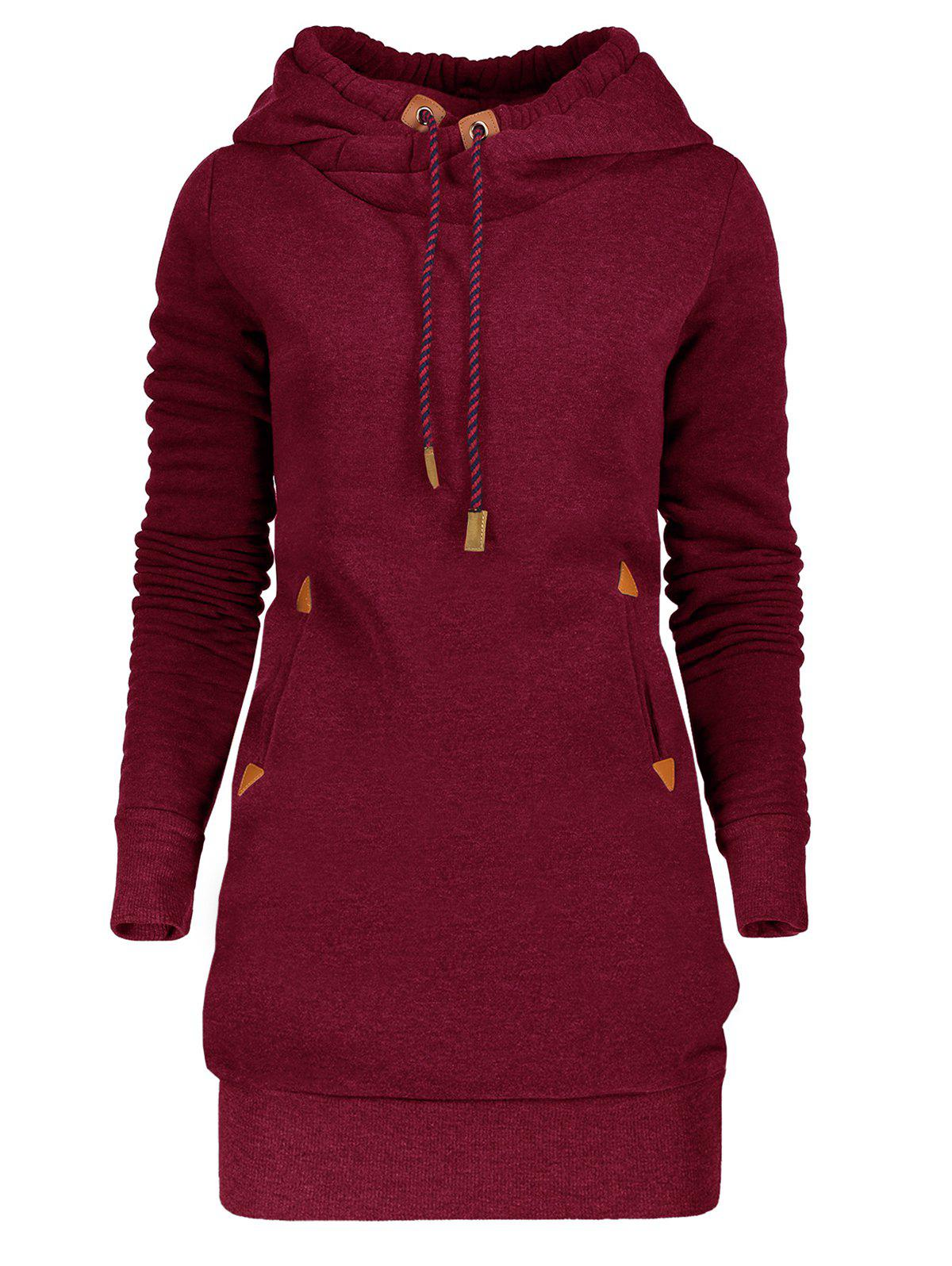 Drawstring Tunic Hoodie Dress with PocketWOMEN<br><br>Size: M; Color: WINE RED; Style: Casual; Material: Polyester; Silhouette: Bodycon; Dress Type: Hoodie Dress; Dresses Length: Mini; Neckline: Hooded; Sleeve Length: Long Sleeves; Waist: Natural; Embellishment: Pockets; Pattern Type: Solid Color; With Belt: No; Season: Fall,Spring,Winter; Weight: 0.3500kg; Package Contents: 1 x Dress; Occasion: Casual ,Outdoor;