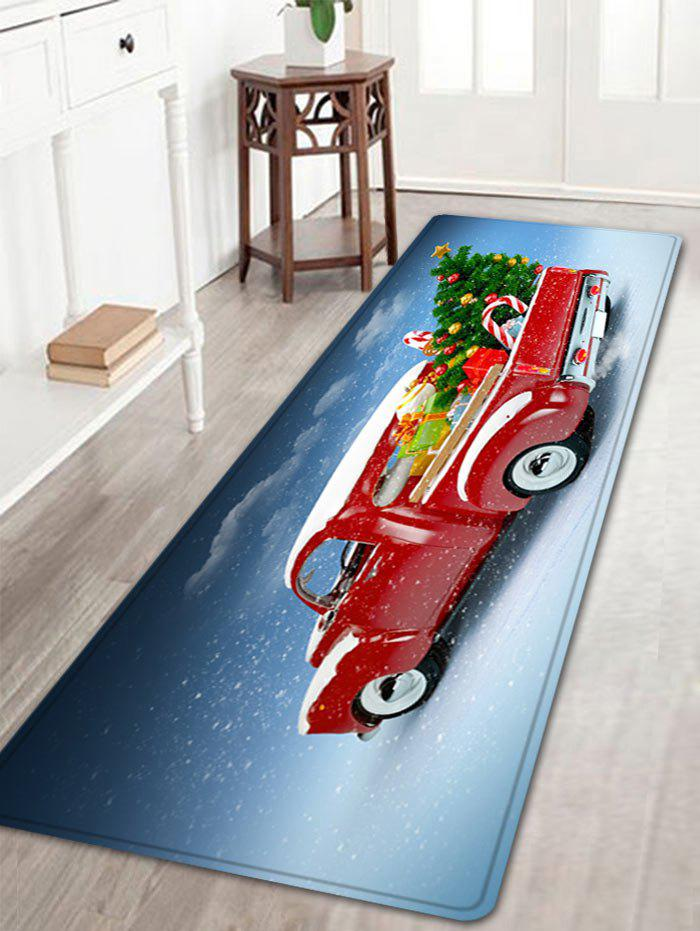 Christmas Car Tree Pattern Anti-skid Water Absorption Area RugHOME<br><br>Size: W16 INCH * L47 INCH; Color: RED; Products Type: Bath rugs; Materials: Flannel; Pattern: Christmas Tree,Gift; Style: Festival; Shape: Rectangle; Package Contents: 1 x Rug;