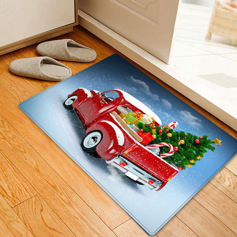 Christmas Car Tree Pattern Anti-skid Water Absorption Area RugHOME<br><br>Size: W20 INCH * L31.5 INCH; Color: RED; Products Type: Bath rugs; Materials: Flannel; Pattern: Christmas Tree,Gift; Style: Festival; Shape: Rectangle; Package Contents: 1 x Rug;