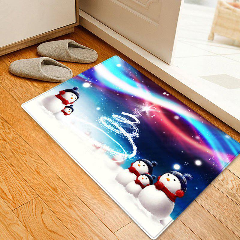 Snowy Christmas Snowmen Pattern Anti-skid Water Absorption Area RugHOME<br><br>Size: W16 INCH * L24 INCH; Color: COLORMIX; Products Type: Bath rugs; Materials: Flannel; Pattern: Snowman; Style: Festival; Shape: Rectangle; Package Contents: 1 x Rug;