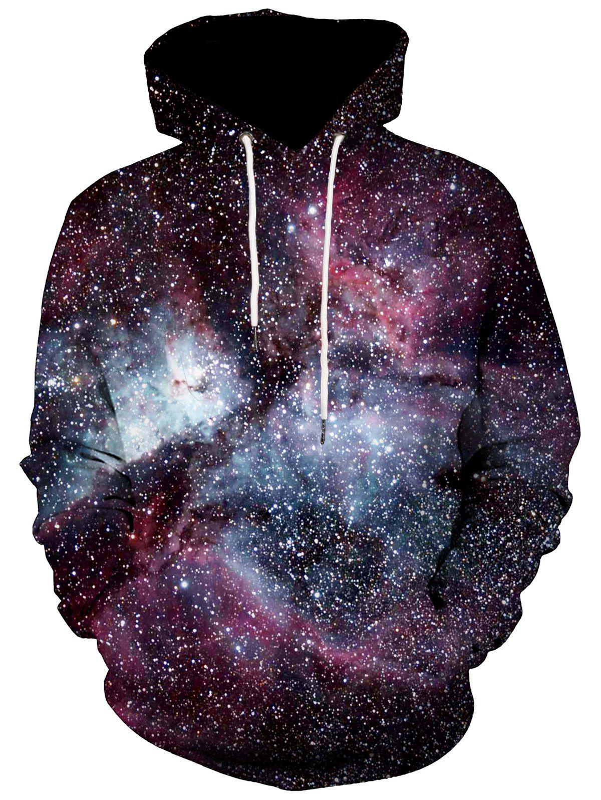 Kangaroo Pocket Pullover 3D Galaxy HoodieMEN<br><br>Size: L; Color: COLORMIX; Material: Polyester; Clothes Type: Hoodie; Shirt Length: Regular; Sleeve Length: Full; Style: Casual; Patterns: 3D; Thickness: Regular; Occasion: Casual; Weight: 0.5200kg; Package Contents: 1 x Hoodie;